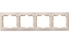 РВ-4-ККм рамка 4местн.верт.КВАРТА (кремовый)