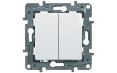 Выключатель двухклавишный на винтах 10АХ Legrand Etika (белый)