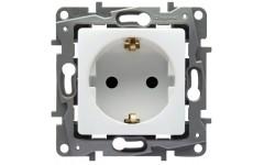 Розетка электрическая с заземлением, винтовые клеммы Legrand Etika (белая)