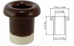 Керамический проходной изолятор для провода коричневый d 12,5мм (25шт) Эко TDM
